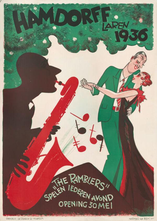 Eelco ten Harmsen van Beek, The Ramblers Dansen in Hamdorff Laren, 1937, lithografie, 94,5 x 70,5 cm, Design Museum Dedel