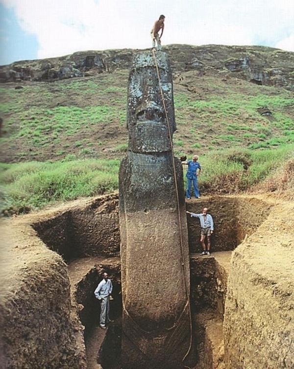 Photo de l'expédition Thor Heyerdhal à l'île de Pâques en 1956. On peut constater que presque les deux tiers de la statue était recouverts de terre.