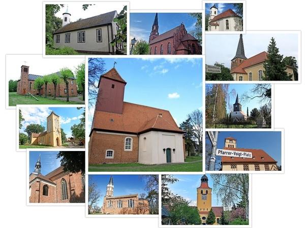 Die zwölf gesuchten Kirchen aus dem Osthavelland. (Graphik: Repro/Nadine Bieneck)
