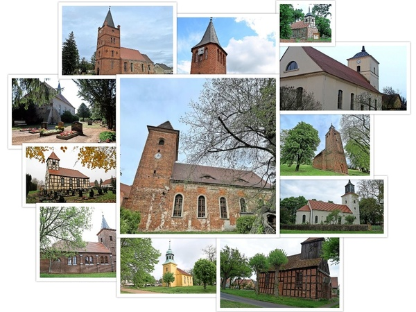Die zwölf gesuchten Kirchen aus dem Westhavelland. (Graphik: Repro/Nadine Bieneck)
