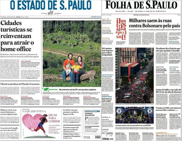 Capas dos dois princiais jornais no domingo 30/05 após protestos contra Bolsonaro tomarem o país