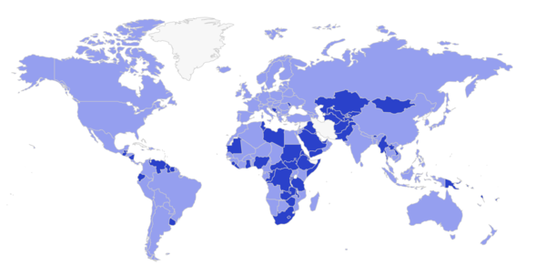 Countries accepted for seller registration on Amazon - dark blue countries added recently [MarketplacePulse]