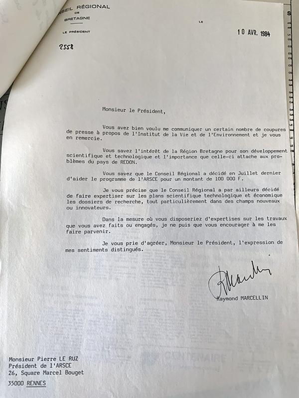 Lettre de Raymond Marcellin, Président du Conseil Régional de Bretagne à l'ARSCE