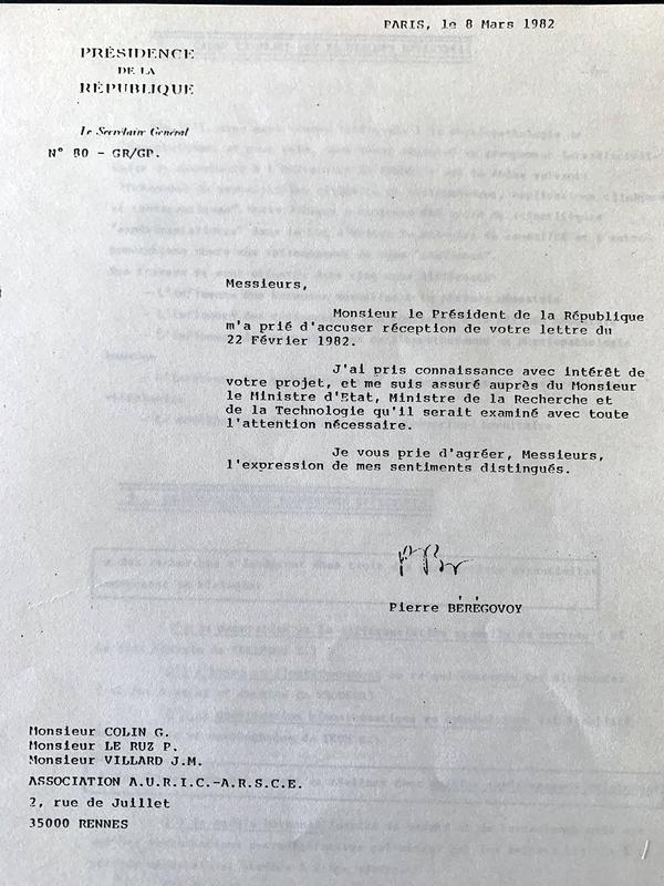 Lettre de Pierre Bérégovoy adressée à l'ARSCE.