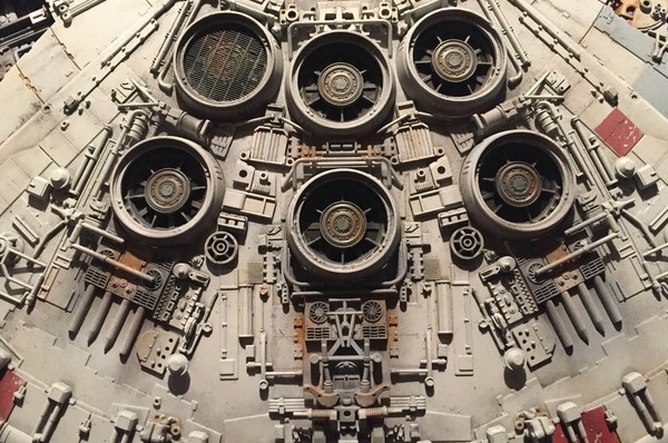 The Millennium Falcon, covered in greebles—bits of model kits.