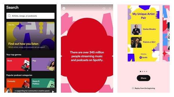 Spotify users can now share a unique story based on their listening history