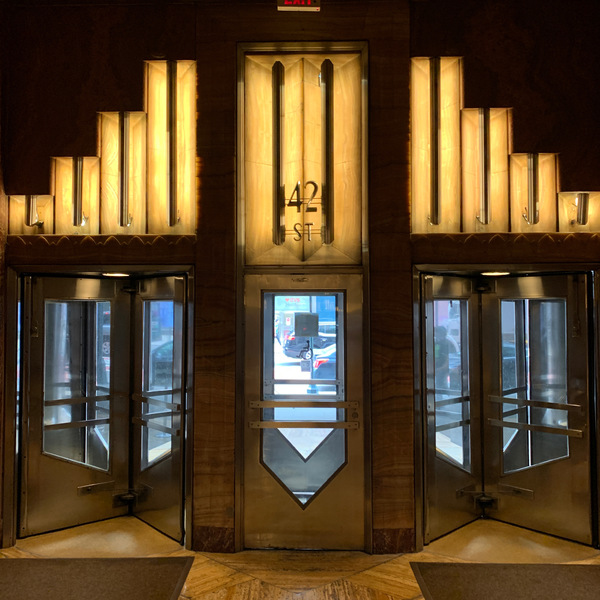 Lobby of the Chrysler Building. The observation deck is still closed to visitors.