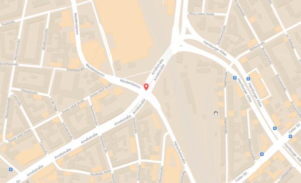 An dieser Kreuzung hat sich die Schießerei ereignet. Klicken Sie auf das Bild für eine zoombare Ansicht. Quelle: GoogleMaps