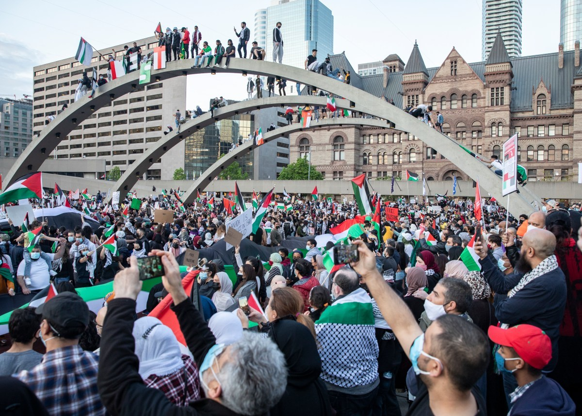 A protest in solidarity with Palestinians in Toronto, Canada (photo by and courtesy Rehab Nazzal)