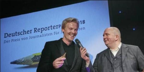 Claas Relotius lors de la remise du prix du meilleur reportage en décembre 2018