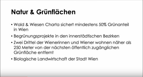 Grünraum Wiener Art: Eine Charta sichert die Natur- und Regenerationsflächen. Quelle: Präsentation Marcus Schober/Screenshot