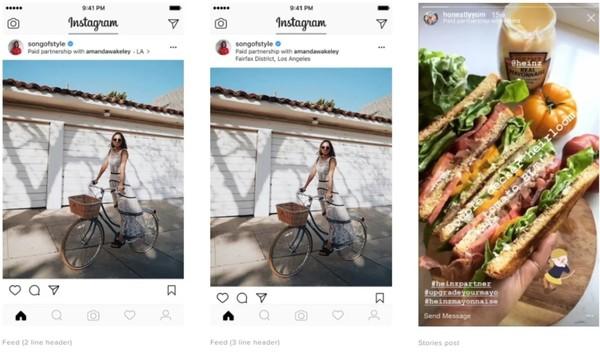 New branded content options in Instagram. Credit: Instagram