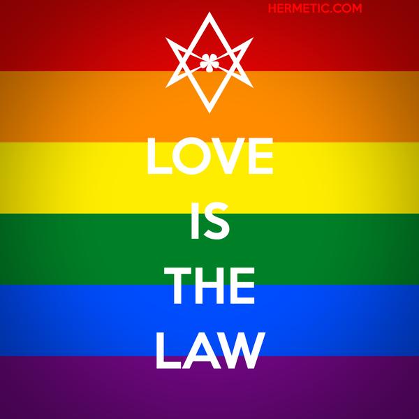 Unicursal LOVE IS THE LAW rainbow propaganda