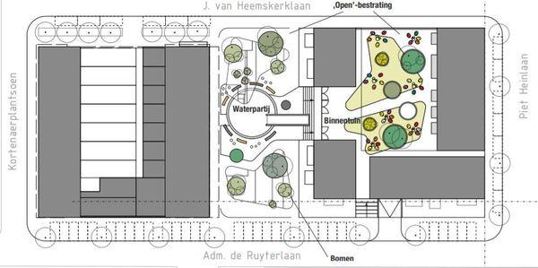 De schets van het FFK-plan. Grijze blokken zijn appartementen. Afbeelding © Fruitema.nl