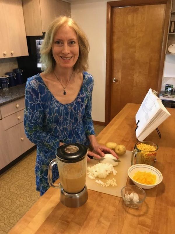 Preparing a vegan meal.