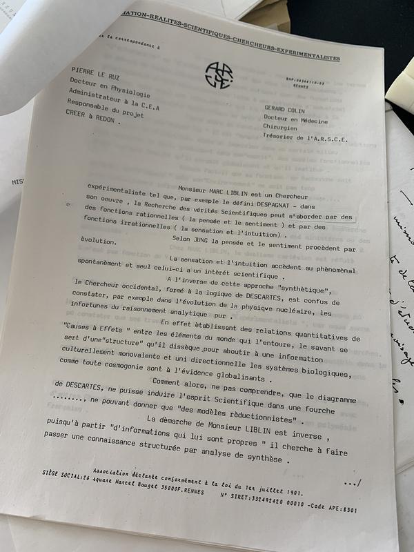 Document de l'ARSCE co-signé Pierre Le Ruz et G.Colin détaillant les objectifs de la mission scientifique de Marc Liblin à Rapa