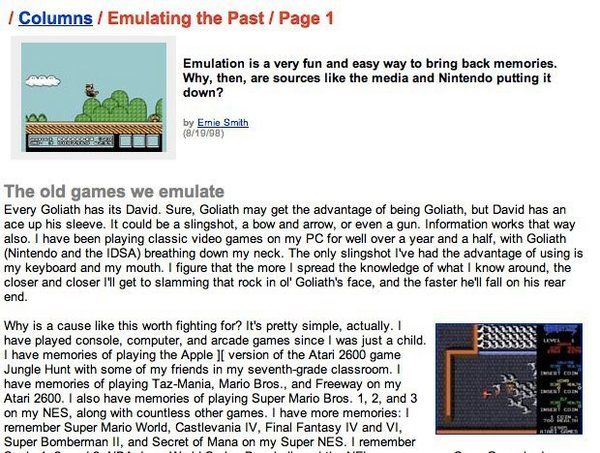 A sample of the article I wrote about emulation when I was 17. I will spare you the whole thing, because you don't want to read it, trust me.