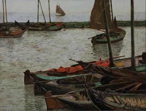 'Boten in de haven van Volendam' - olieverf op paneel: Elias Stark (binnenkort geveild bij Venduhuis De Eland)
