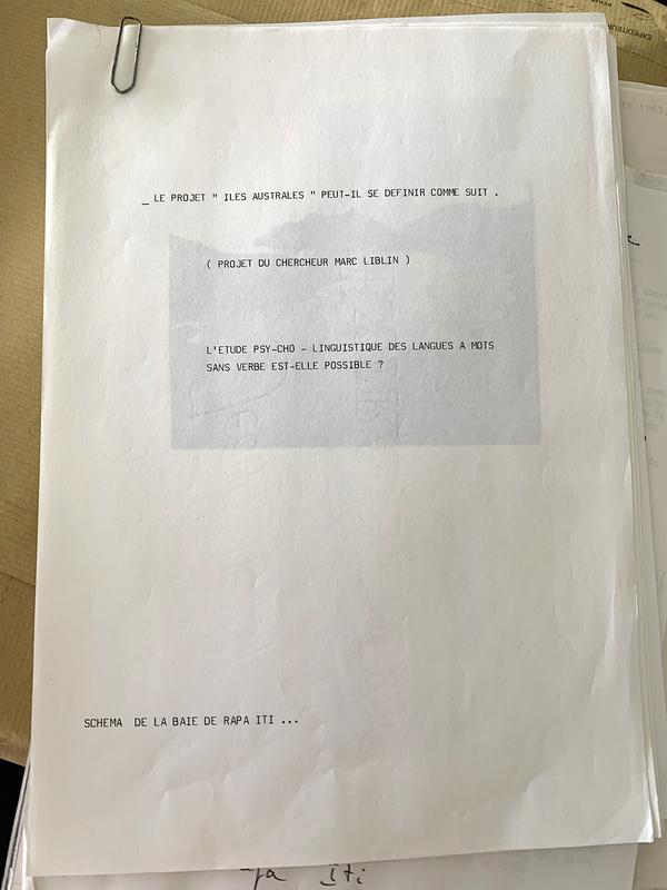 Projet du chercheur Marc Liblin rédigé avant son départ à Rapa Iti