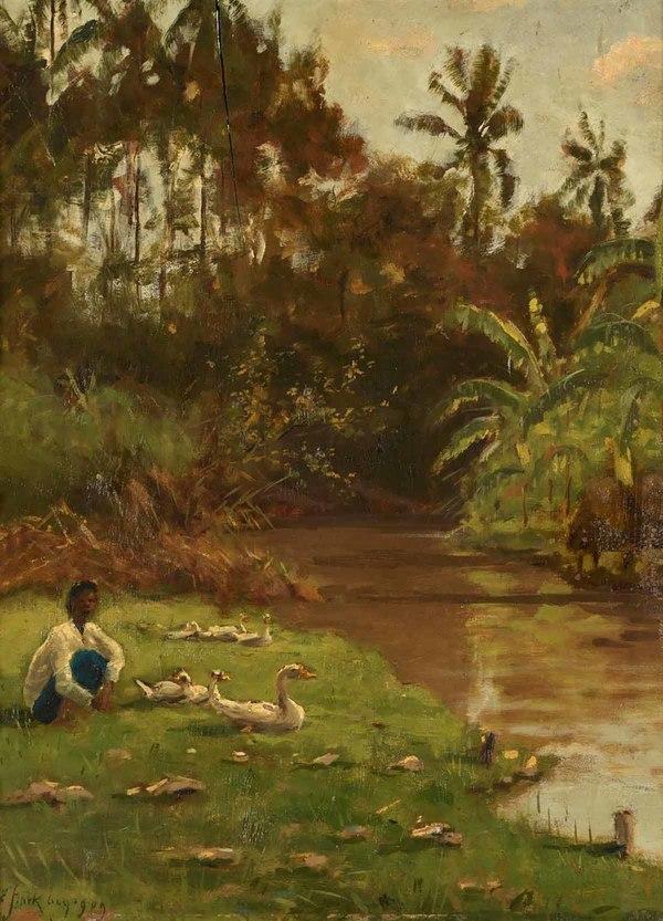 'Jüngling mit Enten an einem Bachufer auf Java' 1909 - olieverf op doek: Elias Stark (herkomst: Dobiaschofsky Auktionen AG, november 7, 2020)