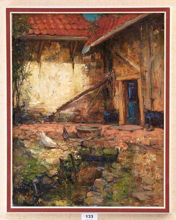 'Boerenerf met kippen' - olieverf op paneel: Frans Helfferich (herkomst: kavel 133, Veilinghuis Onder de Boompjes, Leiden)