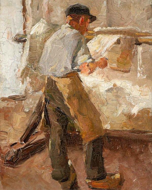 'A Young Workman at a Stretching Frame' 1890-1891 - olieverf op doek: Anton van Rappard (kavel 180, Veilinghuis AAG)