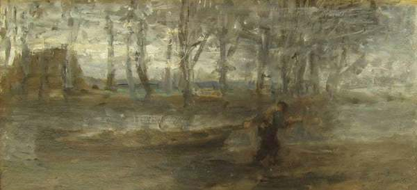 Jozef Israëls - The Sand Barge by Jozef Israëls - Landscape painting, Dutch artist, Hague School For Sale at 1stDibs