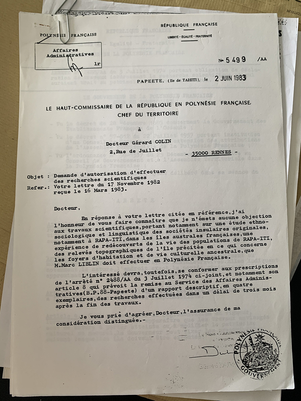 Autorisation de recherche accordée par le Haut-Commissaire de la République en Polynésie française.