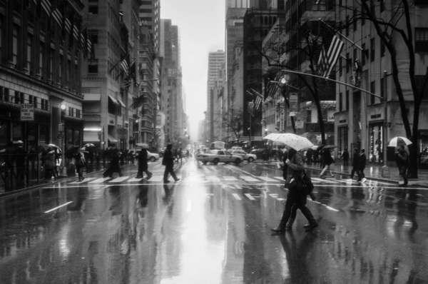 Raining on Fifth Avenue, New York City, February 2013