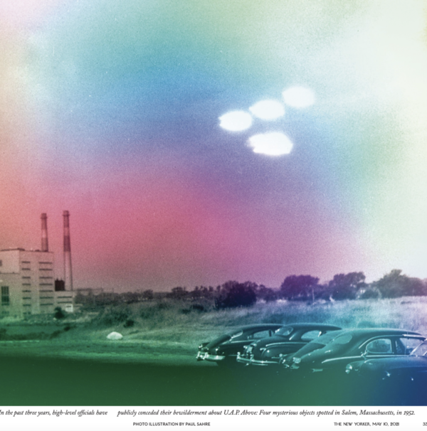 """Four mysterious objects spotted in Salem, Massachusetts, in 1952.  """"In the past few years, high-level officials have publicly conceded their bewilderment about U.A.P. (unidentifiable aerial phenomenon.)"""