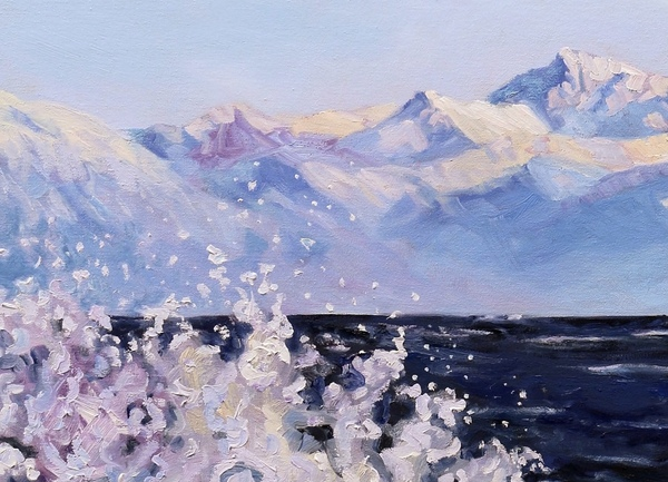 """Detail """"Rolling up on the Strait of Georgia"""" by Terrill Welch"""
