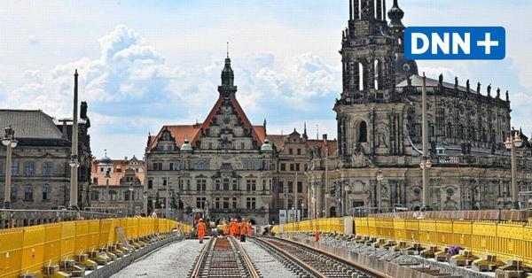 Erste Gleise auf der Dresdner Augustusbrücke verlegt