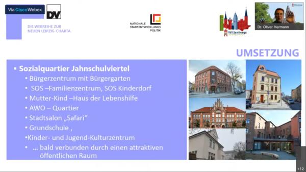 Für eine lebendige Stadtmitte: Das Sozialquartier Jahnschulviertel in Wittenberge Quelle: Präsentation Oliver Hermann/Screenshot