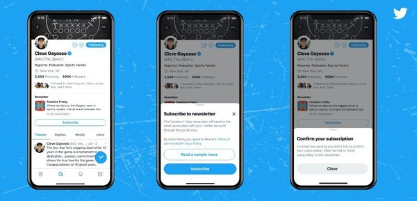 Subscribe to Revue newsletters from a Twitter profile. [Credit: Twitter]