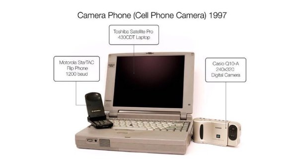📸 1997: the year the camera phone was invented: A flip phone, digital camera and laptop were connected with a car speaker wire. Meet the Man Behind the Very First Camera Phone https://t.co/BiQzwv3Qlj #tech #history… https://t.co/S56myp9yiG
