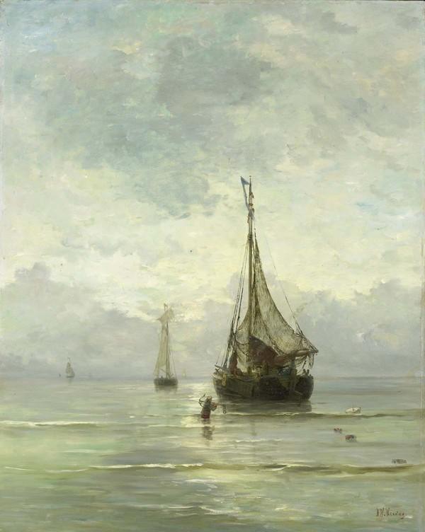 'Kalme zee' - olieverf op doek: Hendrik Willem Mesdag (herkomst: coll. Rijksmuseum Amsterdam, schenking van M.C. barones van Lynden-van Pallandt, Den Haag)