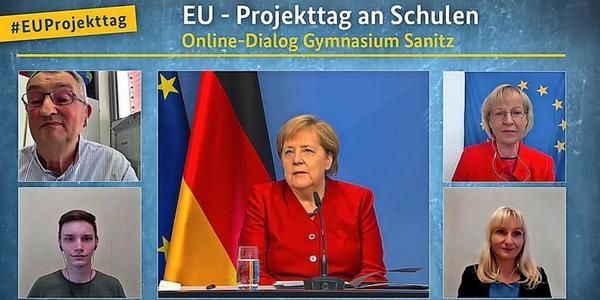 Video: Kanzlerin Angela Merkel diskutiert mit Sanitzer Schülern über Europa