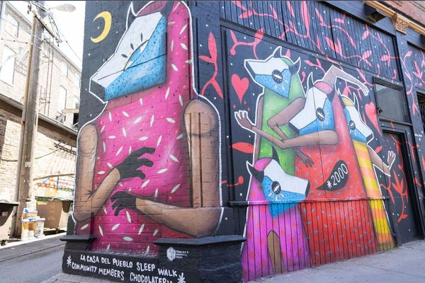 """The """"Declaration of Immigration,"""" left, and """"Amor y Comunidad,"""" right, murals near West 18th Street and South Loomis Street in Pilsen.   Anthony Vazquez/Sun-Times"""
