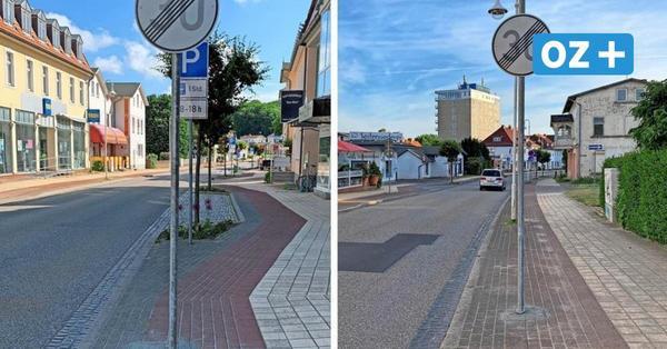 Schildbürgerstreich in Sassnitz: Verkehrszeichen steht auf dem Radweg