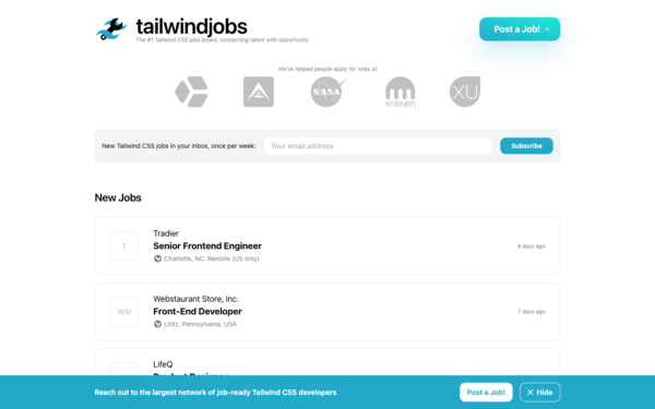 Tailwind CSS Jobs - find a job using Tailwind CSS