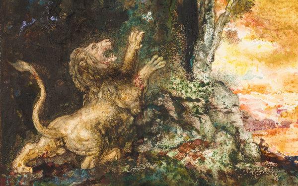 """""""Le Lion et le Moucheron"""" par Gustave Moreau."""
