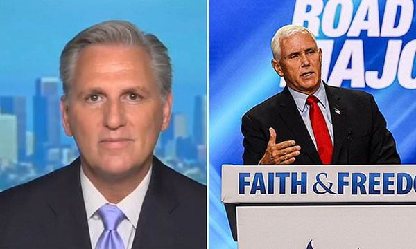 Kevin McCarthy defends Mike Pence, says he is NOT a 'traitor' after hecklers drown out VP with boos   Daily Mail Online