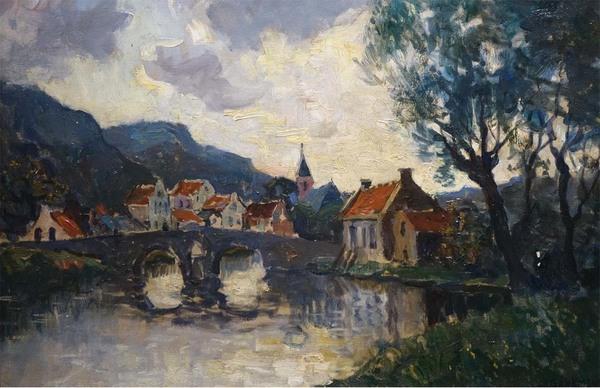 'Gezicht op Dinant' - olieverf op doek: Charles Dankmeijer (kavel 1244, Veilinghuis Van Spengen)