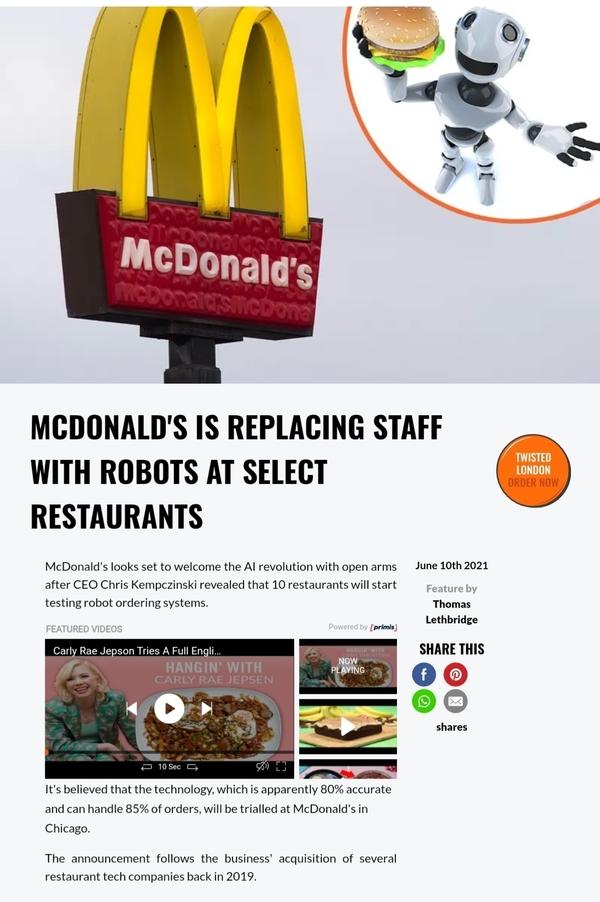 🗣 🍔 🍟 #McDonald's Is Replacing Human Drive-Thru Attendants With AI