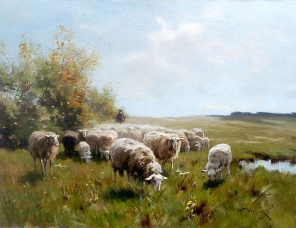'Schaapskudde met herder' - olieverf op doek: Willem Steelink jr. (herkomst: voorm. coll. Simonis & Buunk Kunsthandel)