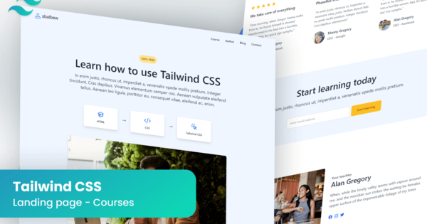 Premium landing page for courses made in Tailwind CSS