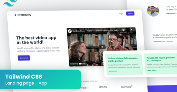 Premium landing page for your apps, made in Tailwind CSS