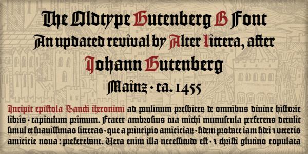 """The Oldtype """"Gutenberg B"""" Font  Johann Gutenberg - Mainz, ca. 1455"""