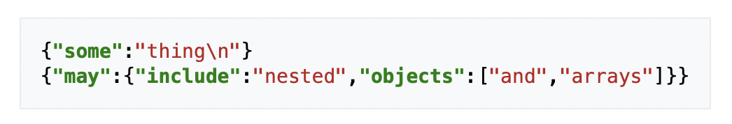 An example JSON logs