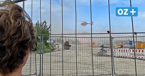 Wismar: Zwei Arbeiter unter Stahlträger eingeklemmt - Schwerer Unfall auf Großbaustelle